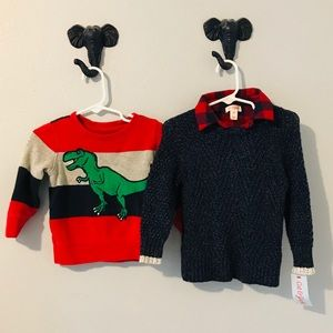 Bundle of Two Baby Boy Sweaters Red and Navy Blue